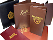 imitation leather hand sewn menus with foil logos